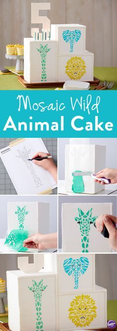 How to Make a Mosaic Animal Cake - This Mosaic Animal Cake is sure to impress family and friends! Great for birthday parties and baby showers, this geometric cake is made using tinted buttercream icing and handmade stencils, giving you the freedom to decorate this cake however you would like. It may look challenging, but you'll be surprised how easy it is to make this amazing celebratory cake.