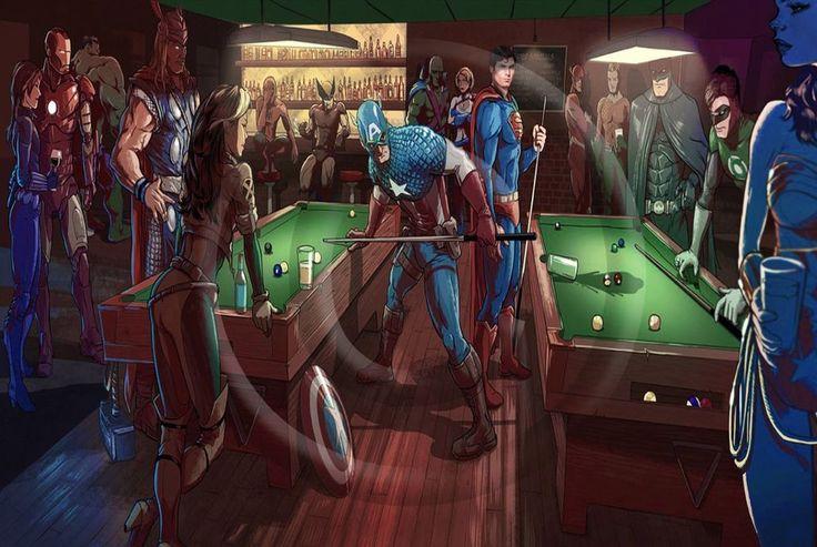 MARVEL Vs DC POOL TABLE, SUPERMAN POSTER SUPERIOR SATIN ...