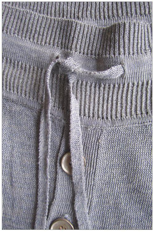 Drawstring detail of the Metallic Silver Linen Long Johns