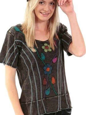 For shops with funky, hippie-chic customers. A striking combination of flattering vertical lines and daises which speak of love and peace. Funky and imaginative, this capped sleeved top is a stunning reflection of the skilled handwork of the Nepalese community. Think swinging 60s with this easy-to- wear daisy t-shirt. Made exclusively for discernible retailers who would like to import direct.