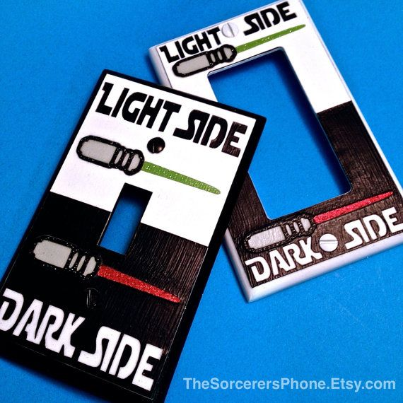 "HANDMADE. Star Wars Inspired The Force "" Dark Light Side"" On Off Light Switch Cover Plate Luke Vader Glitter Saber Standard or Wide Toggle"