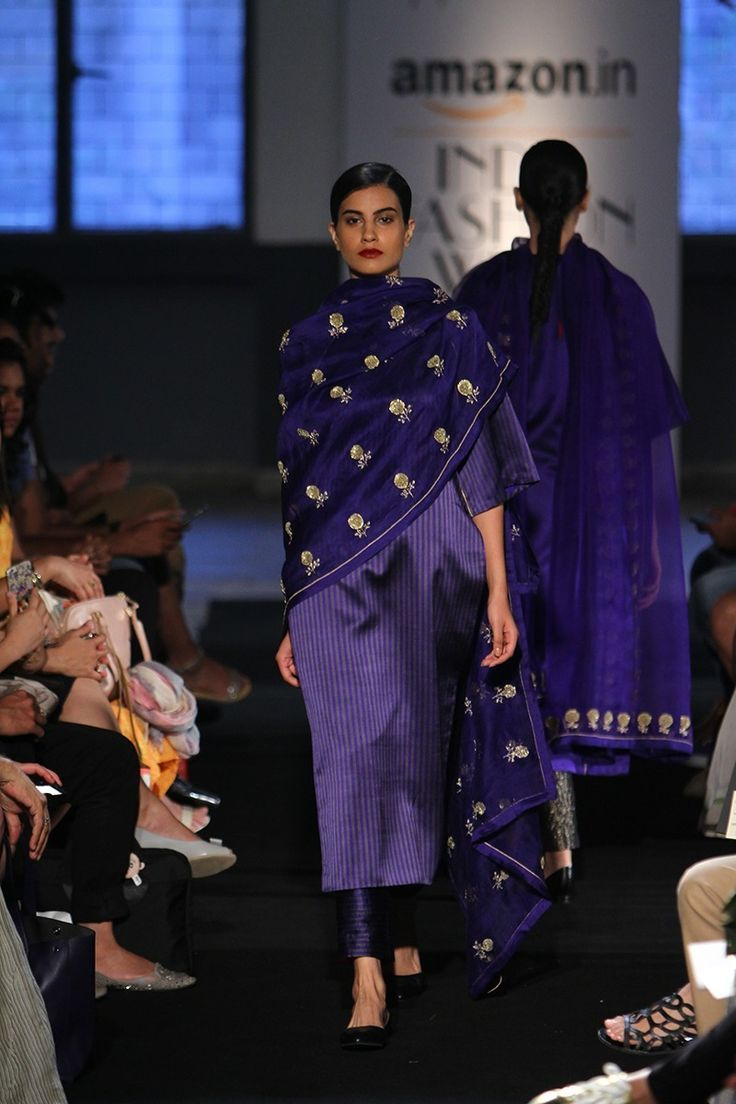 Suit - Sanjay Garg - Indigo blue silk suit and dupatta with gold motifs - Amazon India Fashion Week Spring-Summer 2016