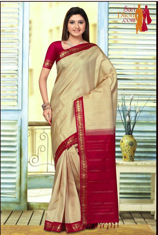 Tussar with Red border kanchipuram silk sarees @ http://www.saridhoti.com