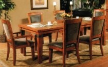 7pcs Formal Dining Table and Chairs Set with Slate Inlay in Warm Oak Finish