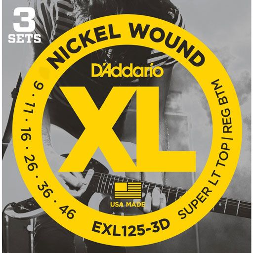 DAddario EXL125 Nickel Wound Electric Guitar Strings Super Light Top Regular Bottom 9-46