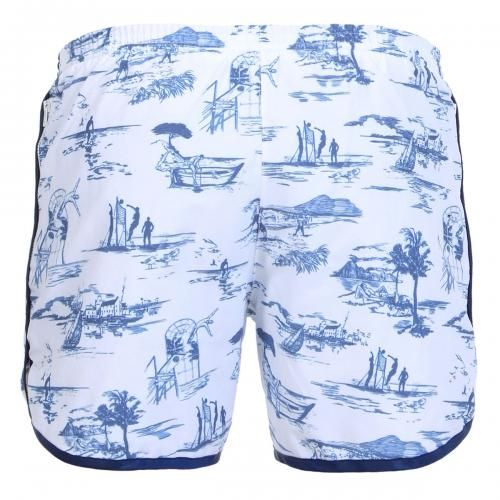 LONG PRINTED BOARDSHORTS WITH ELASTIC WAIST - Oxford Court cotton blend printed Boardshorts with two front pockets, one with zip, fixed waist with adjustable hidden drawstring, adjustable straps at the waist with snaps, internal mesh, Robinson Les Bains rubber label sewn inside, snap button fly.  #robinsonlesbains #sales #summer #mrbeachwear #beach #sale #fashion #mens