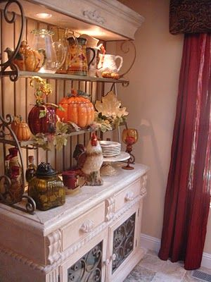 The top part of a bakers rack could be used someplace else.  Take a look at this one, all decked out for Fall,  used on top of a buffet ---- Life and Linda: Fall Display- Bakers rack