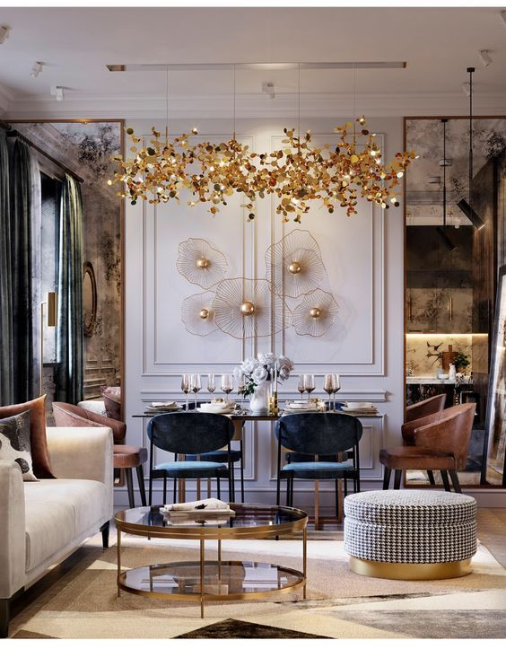 magnificent living room wall design feats | This beautiful neo-classic living room has the most ...