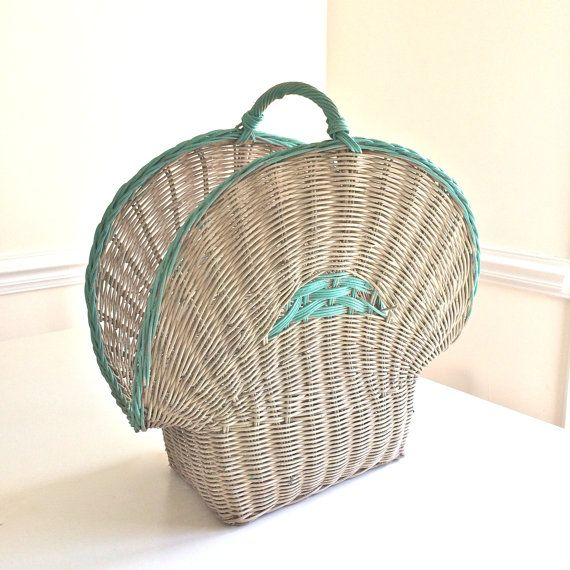 Vintage Antique LARGE UNIQUE French Rattan Basket Wicker Basket Handle Shabby Cottage Chic Turquoise White