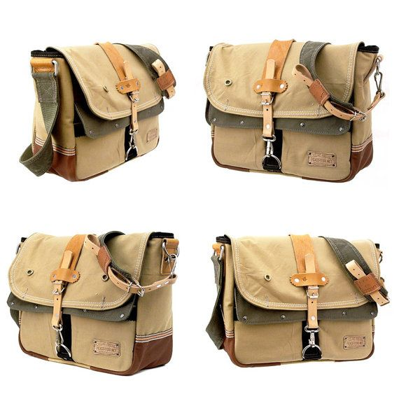 French Army Tent Canvas Messenger // Handmade & by peace4youBAGS
