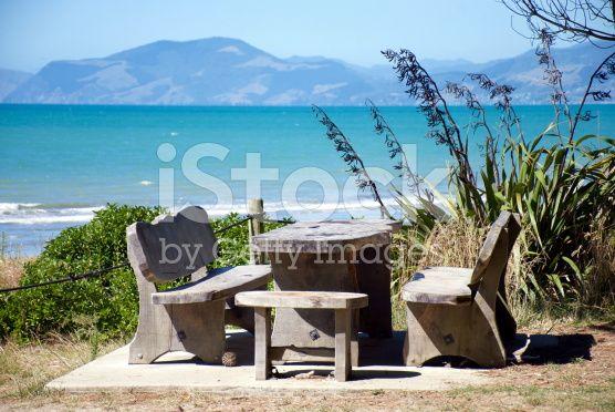 Picnic Bench on Rabbit Island, Tasman Region, New Zealand royalty-free stock photo