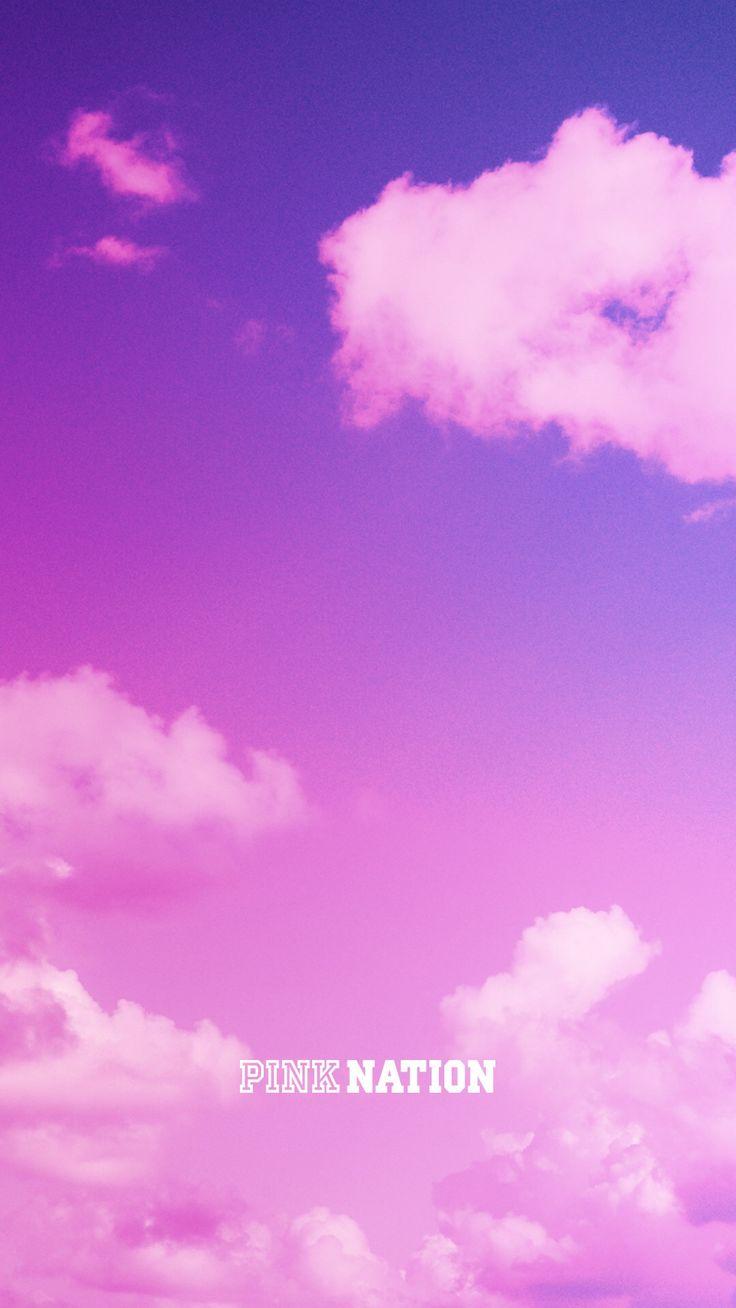 Victoria's Secret pink wallpaper iPhone background nation 2018 spring break clouds sky pastel purple