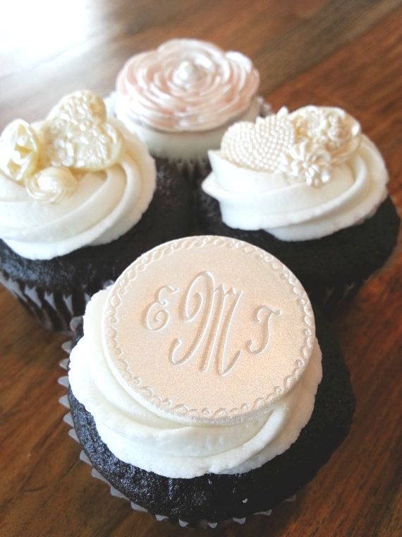 Monogrammed Cupcake Toppers Edible Decoration Small Wedding Cake Plaque Or Brooch
