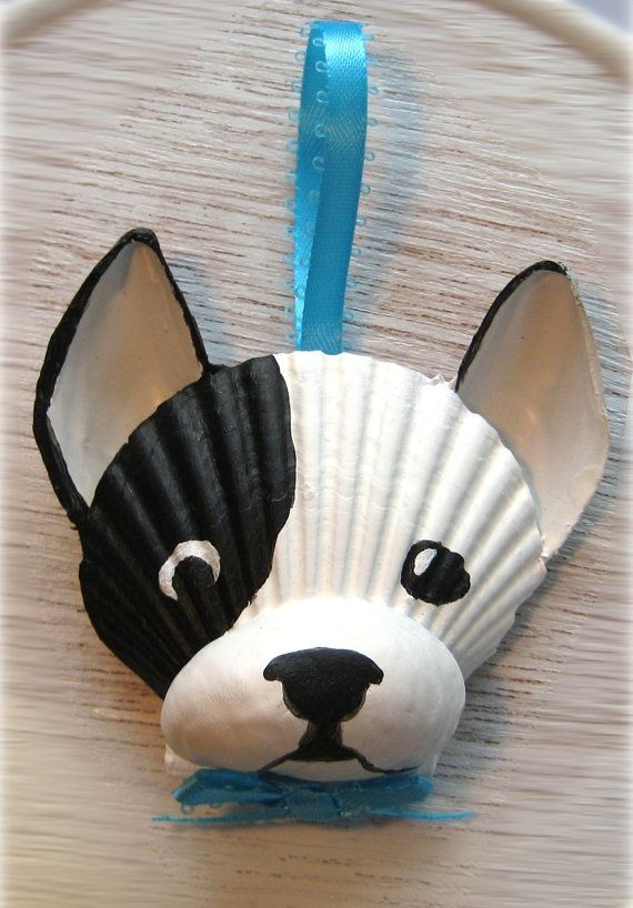 French Bulldog Ornament. Black and white Frenchie by Lorishellart, $15.00