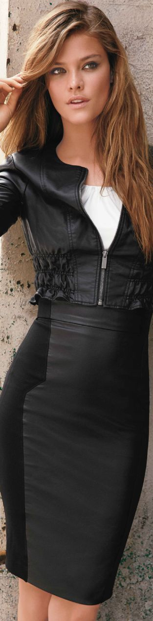 leather jacket with leather skirt