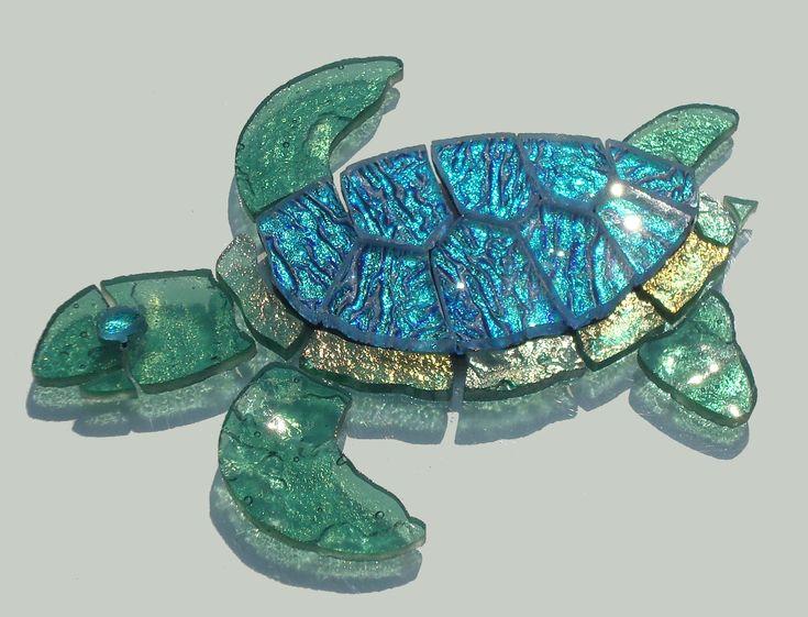 Glass Mosaic Baby Sea Turtle secret garden, mixed celedon