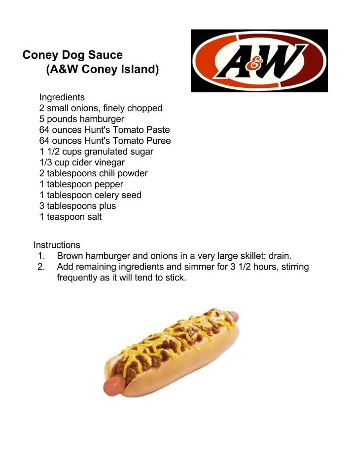 Coney Dog Sauce (A&W Coney Island)                                                                                                                                                                                 More