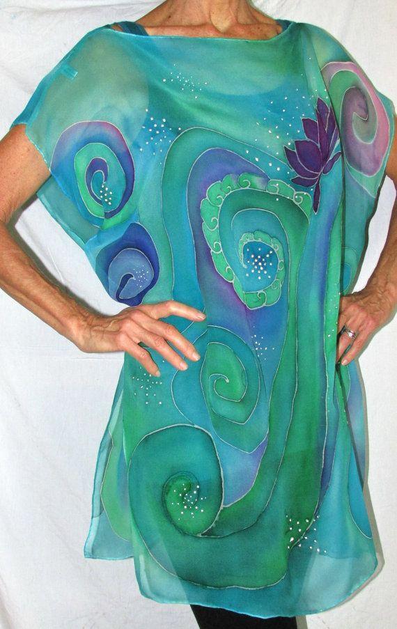 silk top Goddess of Serenity Over sized top by HeavenOnEarthSilks