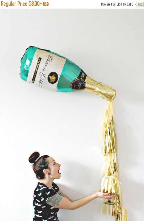 New Years Eve Champagne Bottle Tassel Balloon, Bachelorette Party Decor, Photo Booth Prop, Gold