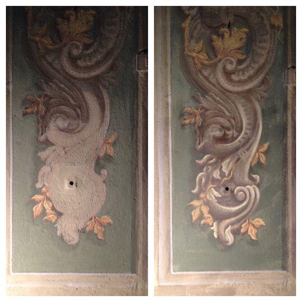 Restauro dipinto murale  prima e dopo l'intervento