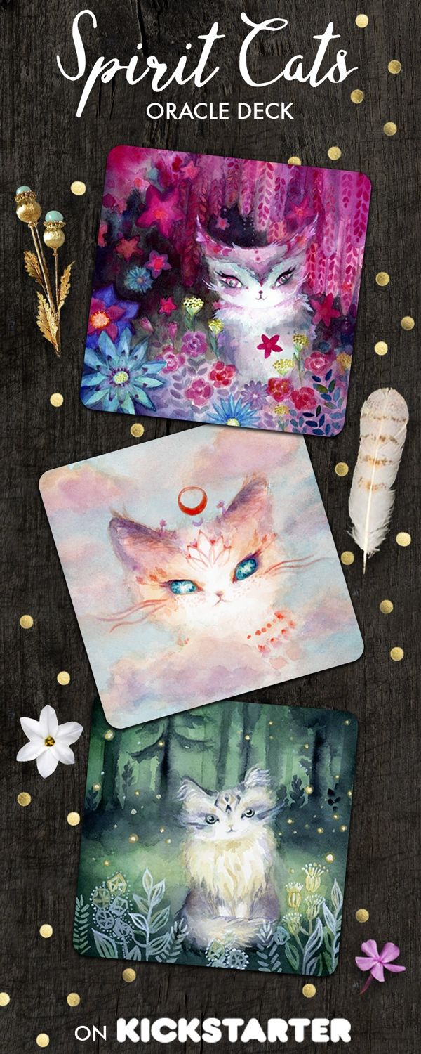 Spirit Cats Inspirational Oracle Deck $20. Tarot deck featuring cute magical cats. Let these fluffy philosophers share their healing messages with you and ignite your intuition.