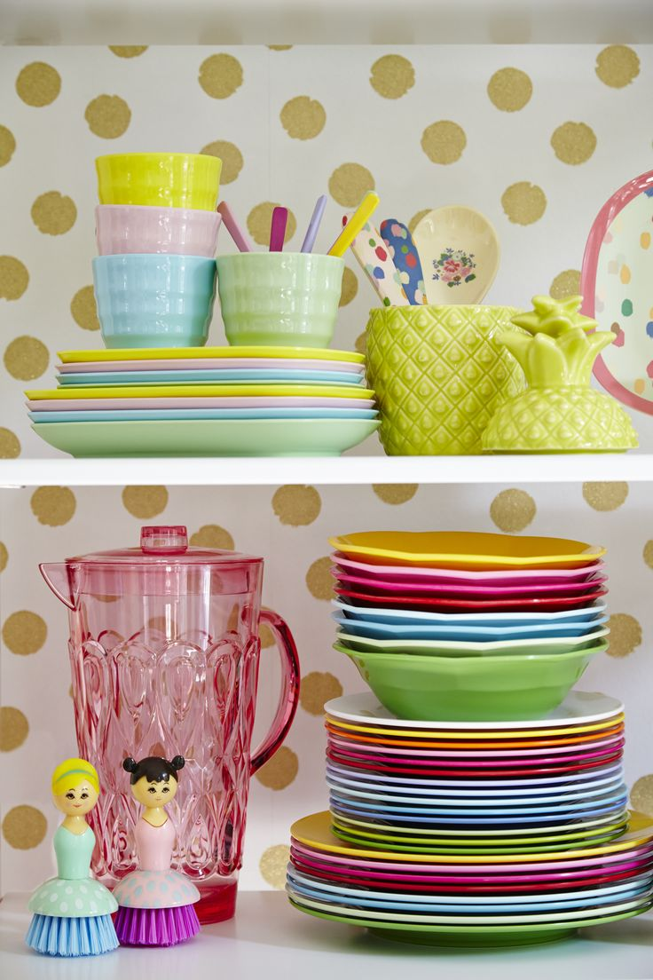 Magical Melamine plates, cups, bowls, spoons all from RICE DK at www.pinksandgreen.co.uk