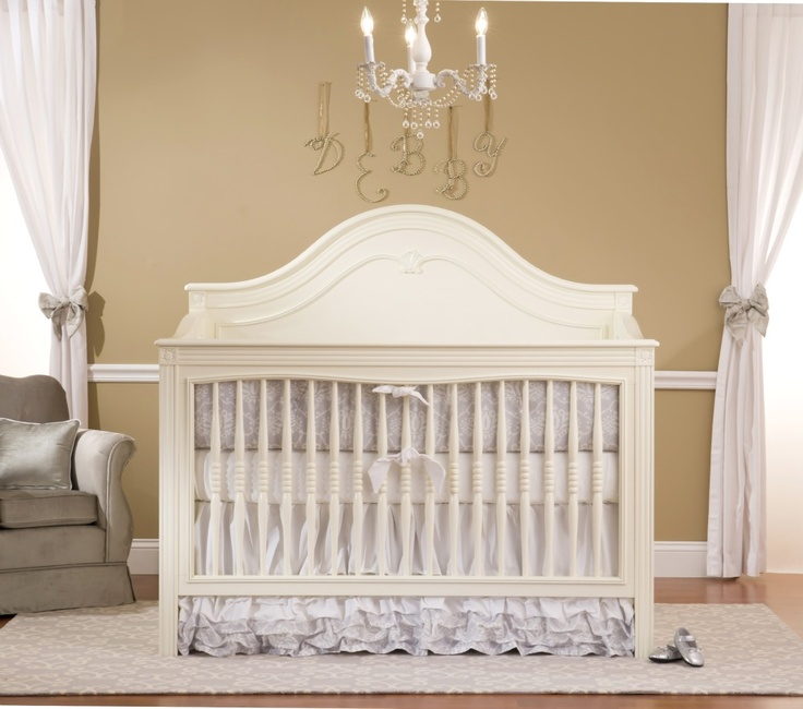 Debby Crib in antique white, love it with silver accents