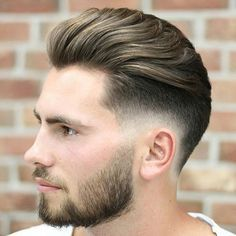 Low Skin Fade with Long Brush Back - Widow's Peak Hairstyles