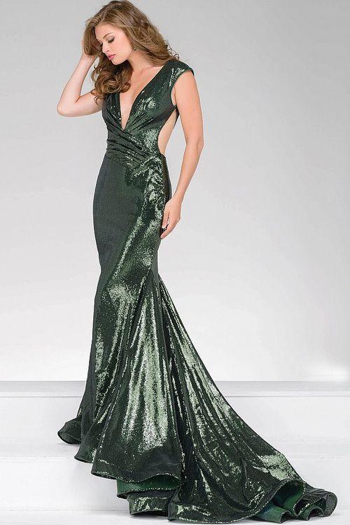 b5b9f5edb3276 Jovani - 56969 Sequined Fitted Long Prom Dress
