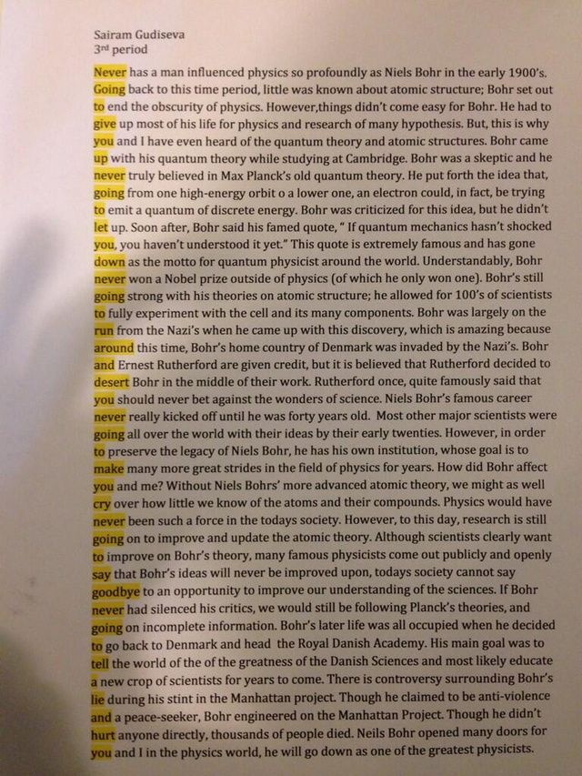 Student Rickrolls his teacher in this ingenious quantum physics essay: This had to have been tedious work. I can't even begin to imagine what it took to line up each word and still put together a fairly cogent assessment of Niels Bohr's contribution to quantum physics. Needless to say, someone clearly has too much time on their hands.