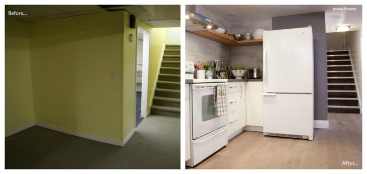 Basement Apartment With New Kitchen Before And After Form HGTV 39 S Income
