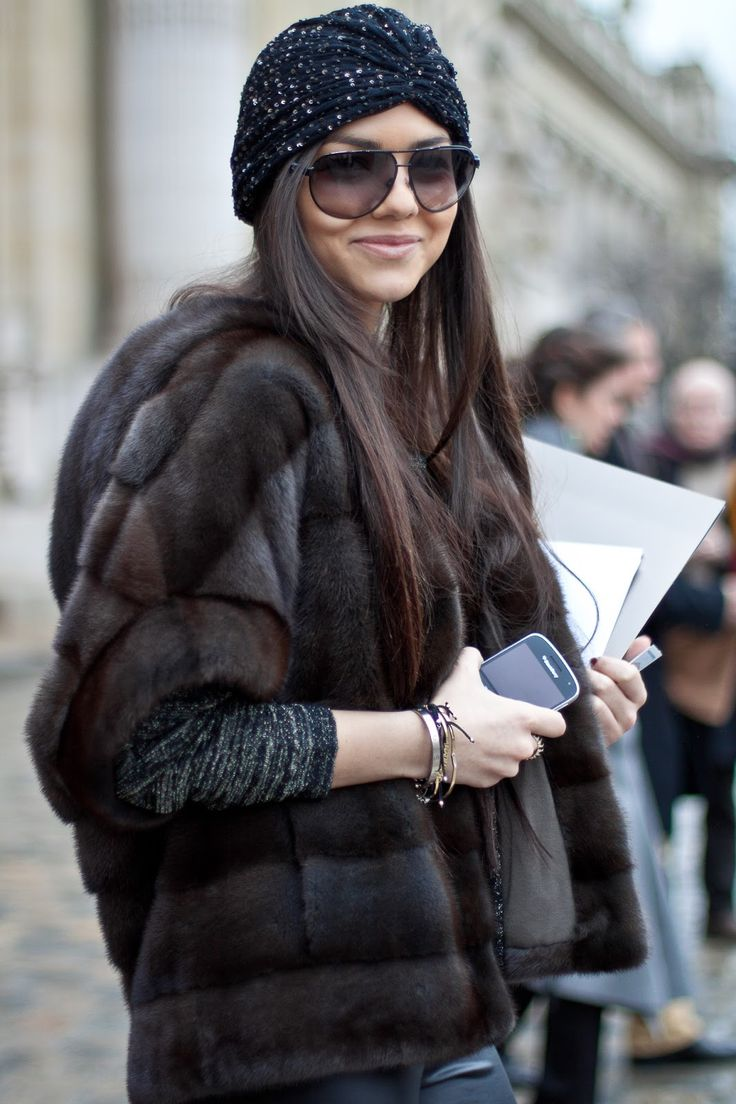 Full on fashion glamour, with turban,shades and faux fur.