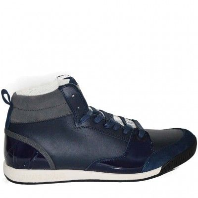 High top trainers in leather with suede and varnished leather detail