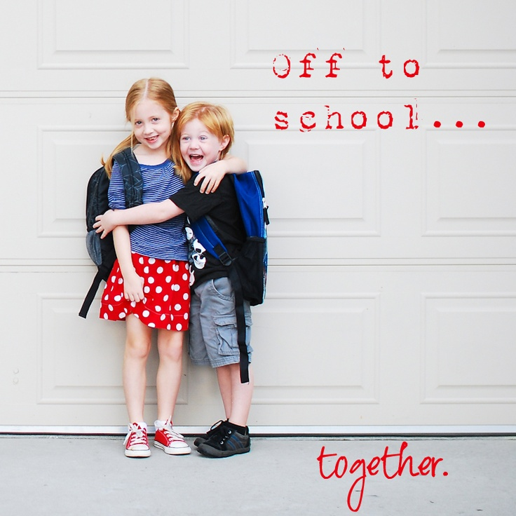 first day of sibling photo