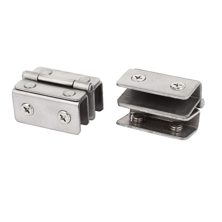 9mm Thickness Double Clamps Glass Door Hinges Silver Tone 2pcs