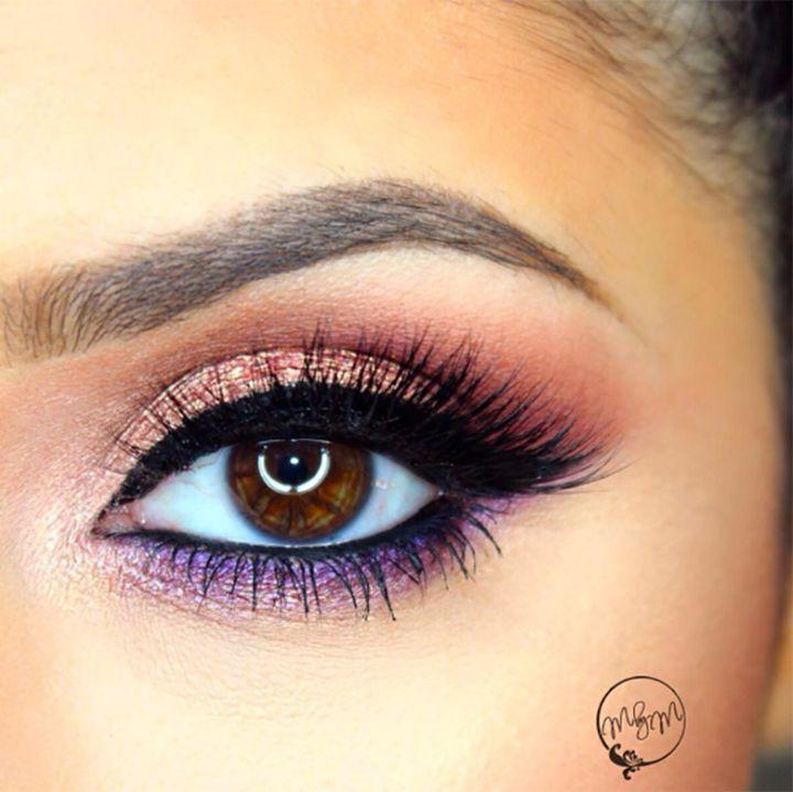 rose gold and purple smokey eye