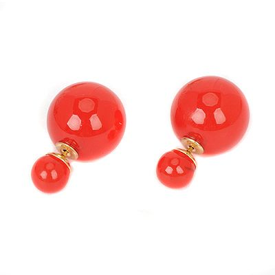 Double Pearl Earring Candy Red! https://www.facebook.com/pages/Collares-y-Accesorios-Dazzling-Doll/865787360105631?ref=hl