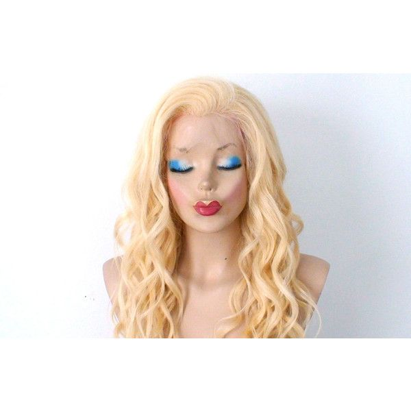 Human Hair Wig Lace Front Wig Blonde Wig Beach Wave Hairstyle Wig. ($595) ❤ liked on Polyvore featuring bath & beauty, hair care, silver and wigs