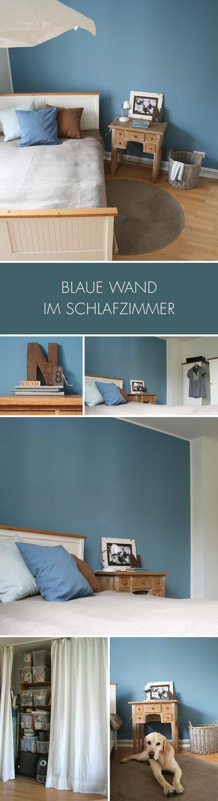 Blaue Wand im Schlafzimmer und wie ich eine praktische Abstellkammer versteckt habe.