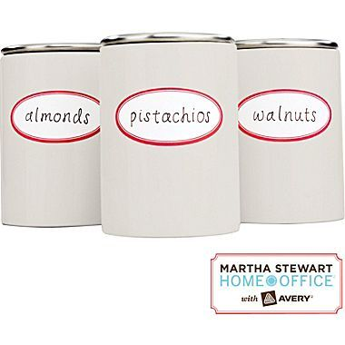 Kitchen Organization 101: Put nuts or other bagged foods in uniform containers then add a fun label for easy identification. #MarthaStewartHomeOffice #affordable #DIY #kitchenorganizationPantry Labels, Kitchens Remodeling, Martha Stewart Home, Kitchens Labels, Red Border, Pantries Labels, Products, Home Offices, Oval Kitchens