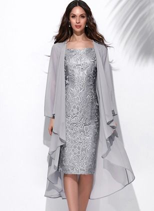 Solid Wrap Knee-Length Sheath Dress