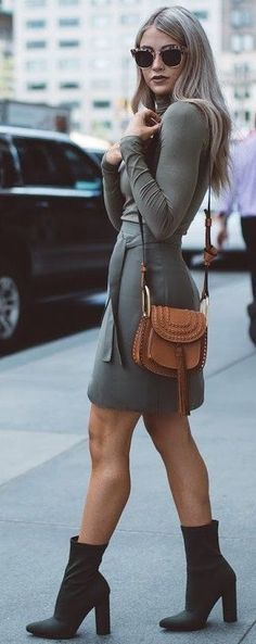 Women's fashion | Flattering belted grey dress with heeled ankle boots