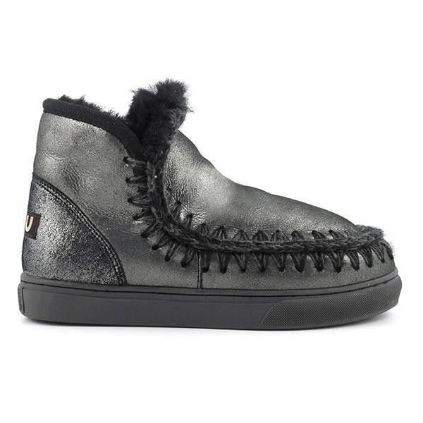 Mou Boots Mini Eskimo Sneaker Women Microglitter Black - MOU #mou #boots #mouboots #sneaker #women #fashion