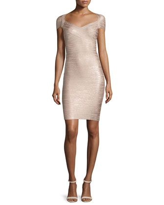 Cap-Sleeve+Bandage+Dress,+Rose+Gold+Combo+by+Herve+Leger+at+Neiman+Marcus.