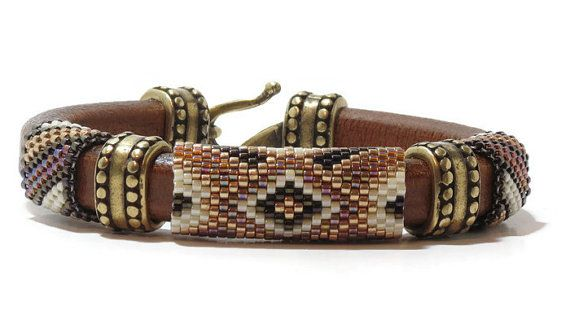 $35.00  Brown Regaliz leather bracelet Miyuki by CinfulBeadPatterns