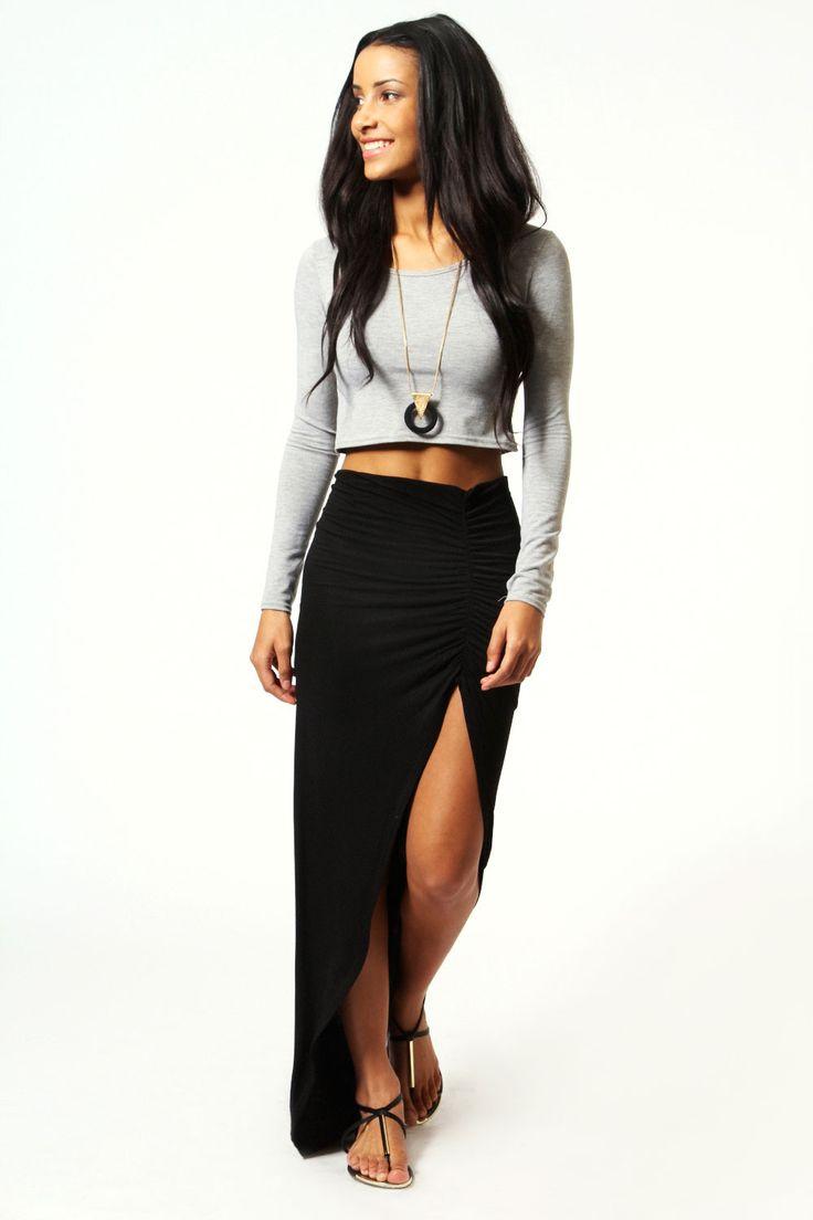 Michelle Viscose Maxi Skirt at boohoo.com