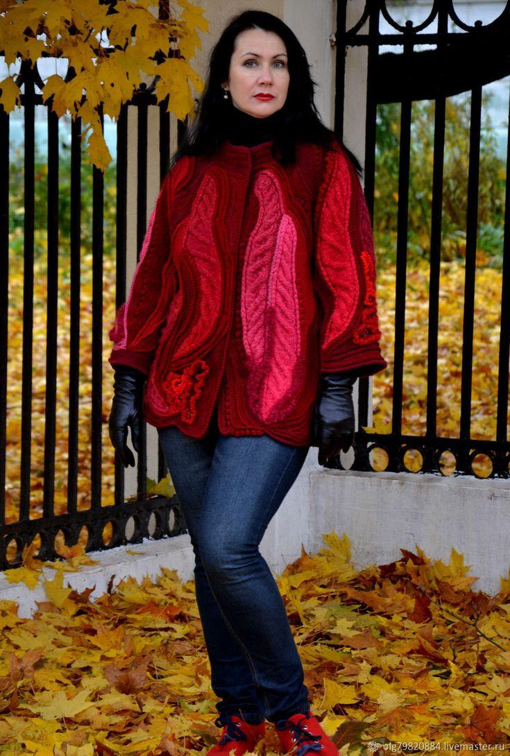 Купить Жакет женский теплый вязаный фриформ марсала красный бордо розовый в интернет магазине на Ярмарке Мастеров
