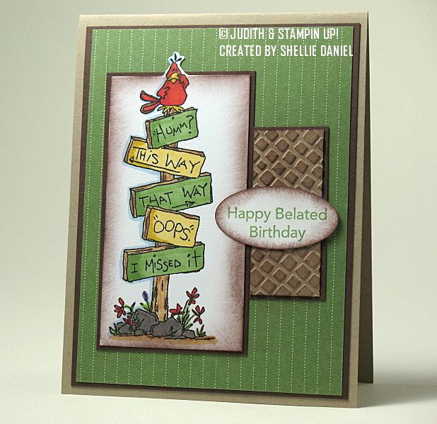 SC281 Belated Birthday - To see more ideas and order Stamps by Judith & Heather go to www.stampsbyjudith.com