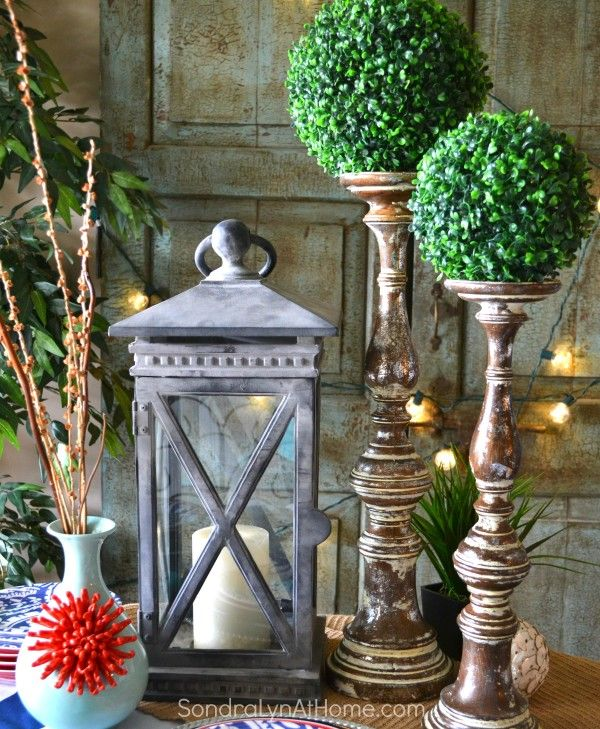 Coastal Vibe Tablescape -Balsam Hill Lantern and Candlesticks - Sondra Lyn at Home