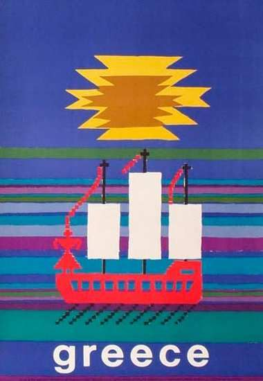 DP Vintage Posters - Greece Original Vintage Greek Travel Poster Boats 1963